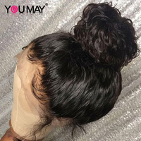 360 Синтетические волосы на кружеве al парик предварительно сорвал с для волос 180% бразильский волна Синтетические волосы на кружеве человече