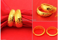 A Pair of Lucky Rings / Solid 999 24K Yellow Gold Dragon & Phoenix Rings 16.8g