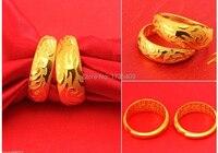 Un Paio di Lucky Anelli/Solido 999 24 K Yellow Gold Dragon & Phoenix Anelli 16.8g