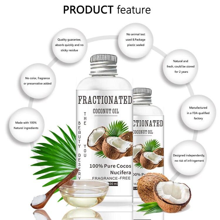 100% Natural Pure Coconut Oil Organic Extra Virgin Coconut Oil Best Cold Press Coconut Oil Skin Hair Care Essential Oil 100ml