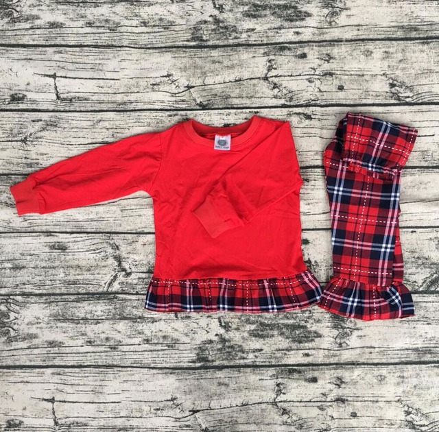 wholesale childrens boutique clothes red top christmas pajamas red and black grid pants sleepwear pijamas - Wholesale Christmas Pajamas