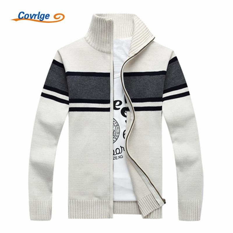 Covrlge Men Stripe Sweater 2017 Autumn Winter New Thick Mens Cardigan Male Turtleneck Zipper Sweaters Knit Jacket MZM021