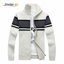 Covrlge Men Stripe Sweater 2017 Autumn Winter New Thick Mens Cardigan Male Turtleneck Zipper Sweaters Knit Jacket MZM021