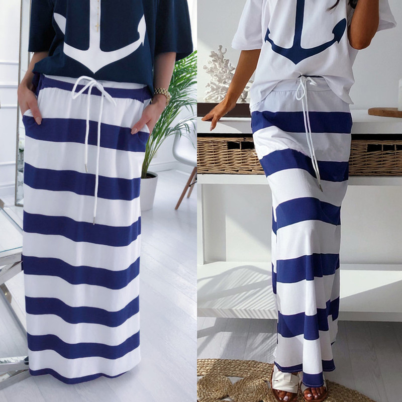 Casual Maxi Skirt With Pockets Striped Print Lace Up Loose High Waist Summer Beach Women's Long Skirt Women Skirts Fashion 2019