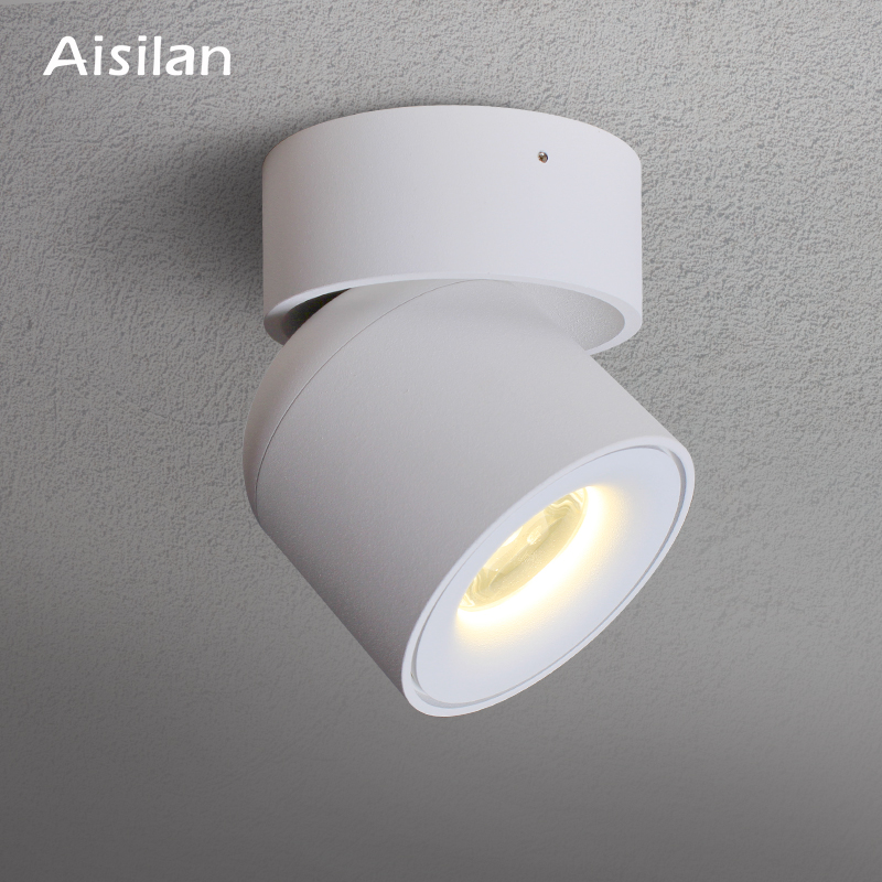 Aisilan LED Ceiling light Surface mounted 360 Degrees Round Curve Rotation lamp Cylinder Creative 7W 9W