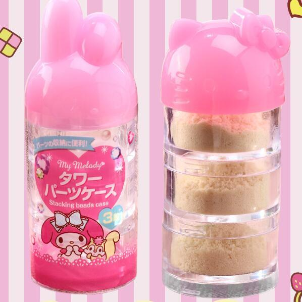 3 Layers Cartoon Hello Kitty My Melody Office Travel Cosmetic Lotion Glass Storage Bottle Jars