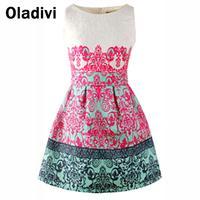 Neue 2017 frühling sommer neue frauen mode kleidung ärmelloses drucken sommerkleid elegante vintage dress großhandel einzelhandel dropship xl