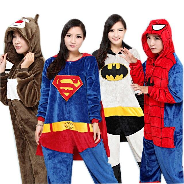 a2b7665cf0 Spiderman Batman Superman Halloween Onesie Pajamas Cosplay Carnival Costumes  For Adults Women Men