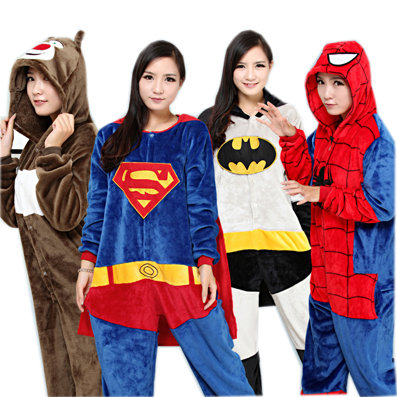 Spiderman Batman Superman Halloween Onesie Pajamas Cosplay Carnival Costumes For Adults Women Men