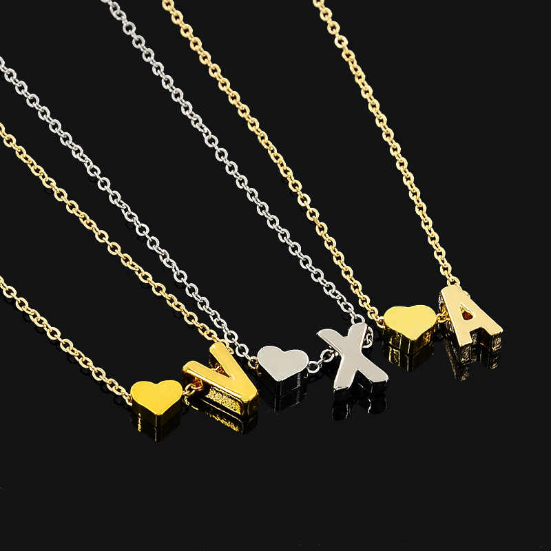 Tiny nazwa początkowa Choker naszyjnik 26 litery i serce wisiorek niestandardowy naszyjnik kobiety Collares Collier prezent biżuteria XL217
