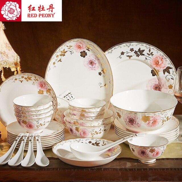 Rote Pfingstrose Bowl Chinese Haushalts Anzug Bone China Geschirr Hotel  Gerichte Keramik Tabelle Chopsticks Geschenkbox