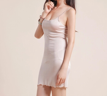 56d8791c85d Silk knitted suspender white slip basic skirt long silk shoulder strap  adjustable full slip women underskirt-in Full Slips from Women s Clothing    ...