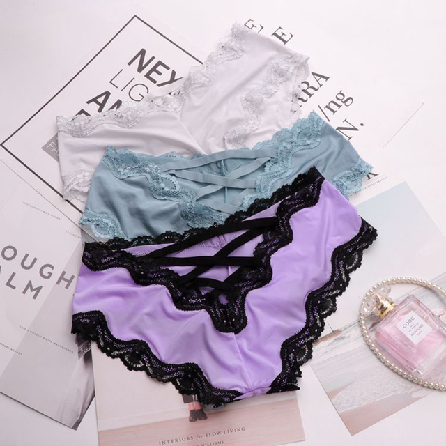 Hollow Out Silk Sexy Lingerie Panties Women Lace Underwear Female Crotch Cotton Briefs Thongs Bandage Deign 1