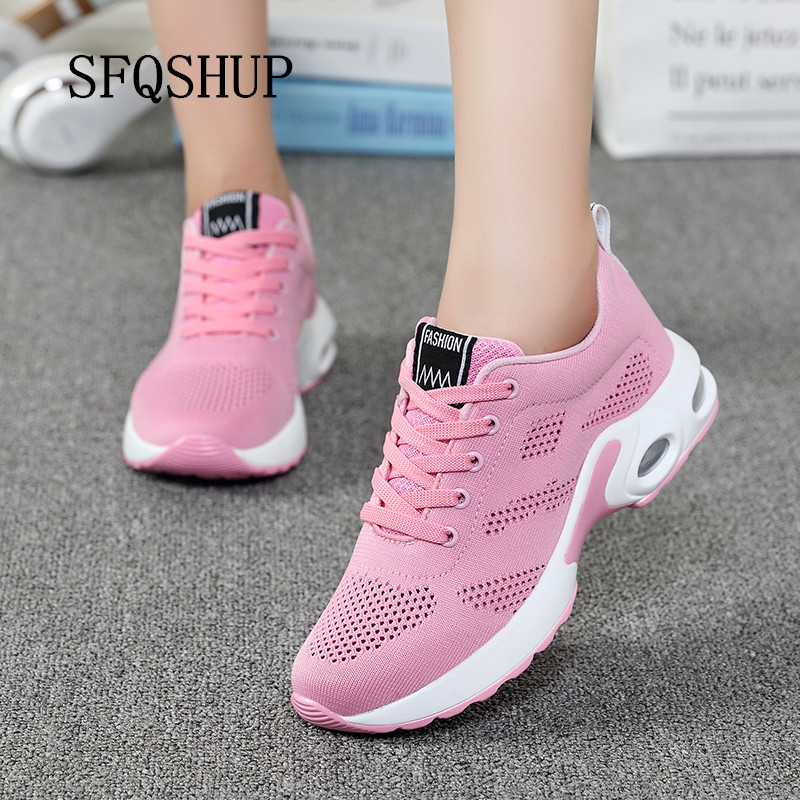 SFQSHUP breathable air mesh sneakers women 2019 spring summer Winter slip on platform knitting flats soft walking shoes woman
