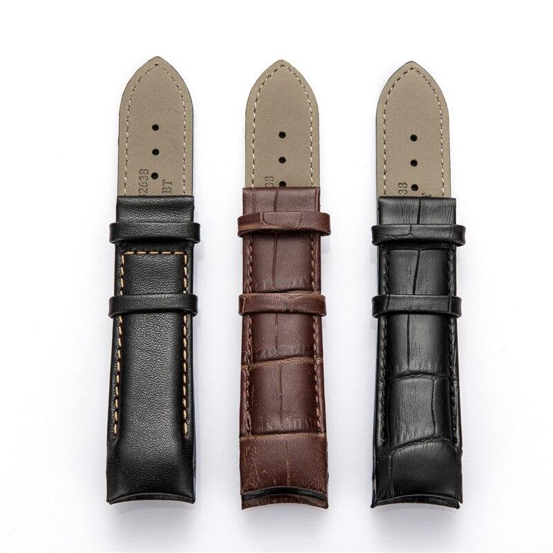 Fait à la main pour Tissot montre Bracelet T035 Bracelet de montre Bracelet en cuir véritable extrémité incurvée 22mm 23mm 24mm en acier boucle Bracelet
