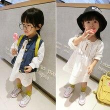 Denim Vest+White Lace Dress For Girls