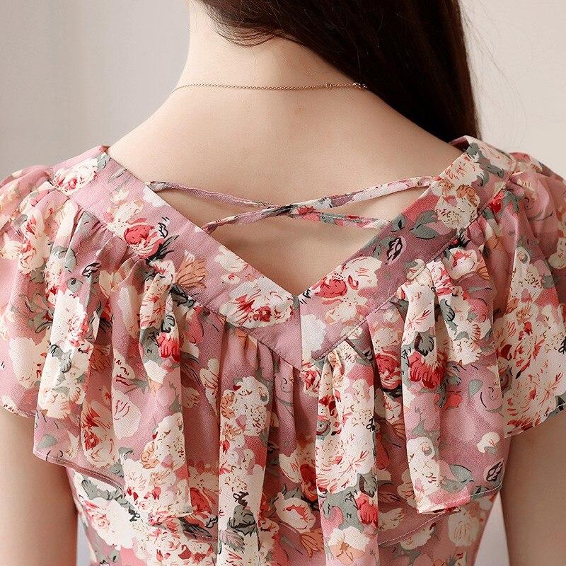 5e0b64c77 2018 Moda Verão Blusas Femininas Camisas Plus Size Floral Tops Senhoras  Babados Blusa de Manga Curta Chiffon Blusas Feminina Mujer em Blusas e  camisas de ...
