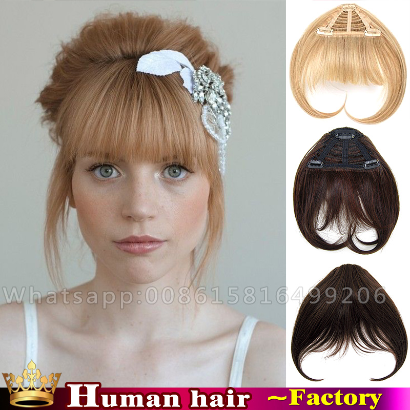 Brazilian Virgin Lace Clip In Fringe Bangs Human Real Hair