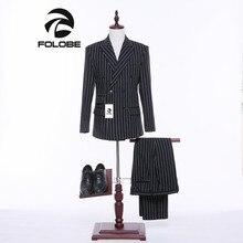 Folobe New Stock Tweed White Stripe Black designs font b Men b font font b suit