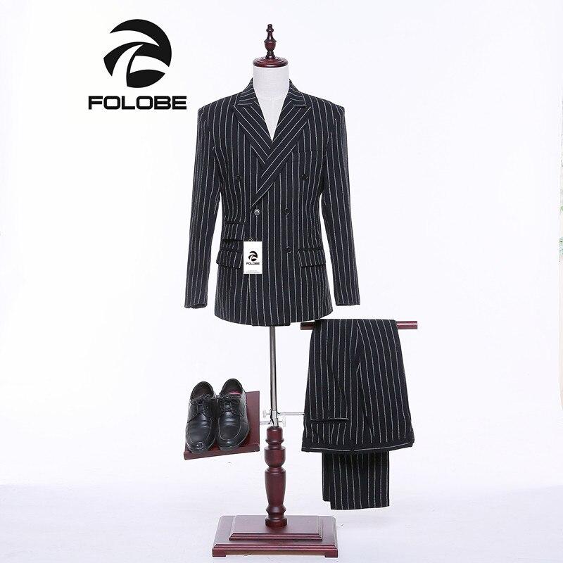 Folobe New Stock Tweed White Stripe&Black designs Men suit Blazers Retro Slim fit wedding suits Tuxedos Jacket pants+Vest M20