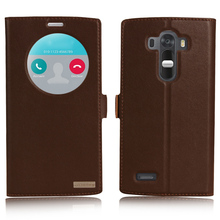 Window Smart Cover Case For LG G4 H818 H815 H810 Top Quality Genuine Leather Magnet Flip Stand Mobile Phone Bag + free gift