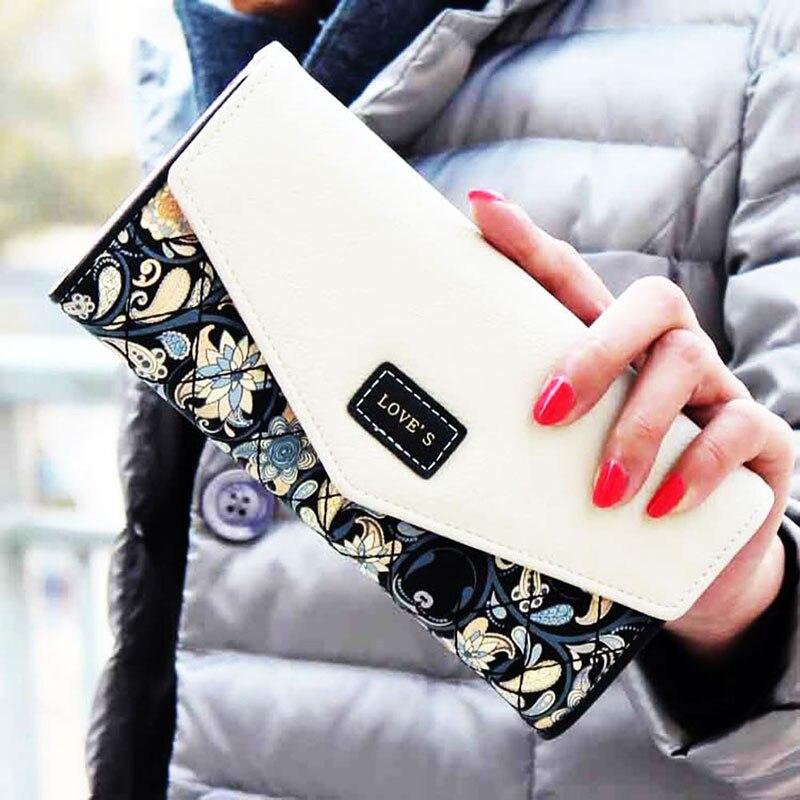 Lady Handbag Envelope Women Wallet Hit Color 3Fold Flowers Printing 5Colors PU Leather Wallet Long Ladies Clutch Coin Purse