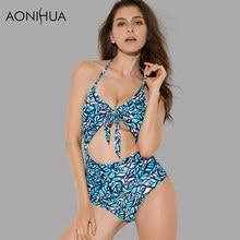 AONIHUA 2018 Vintage One Piece Swimsuits  Women Halter bowknot Monokini female High waist Push up Swimwear Bathing Suit 2156