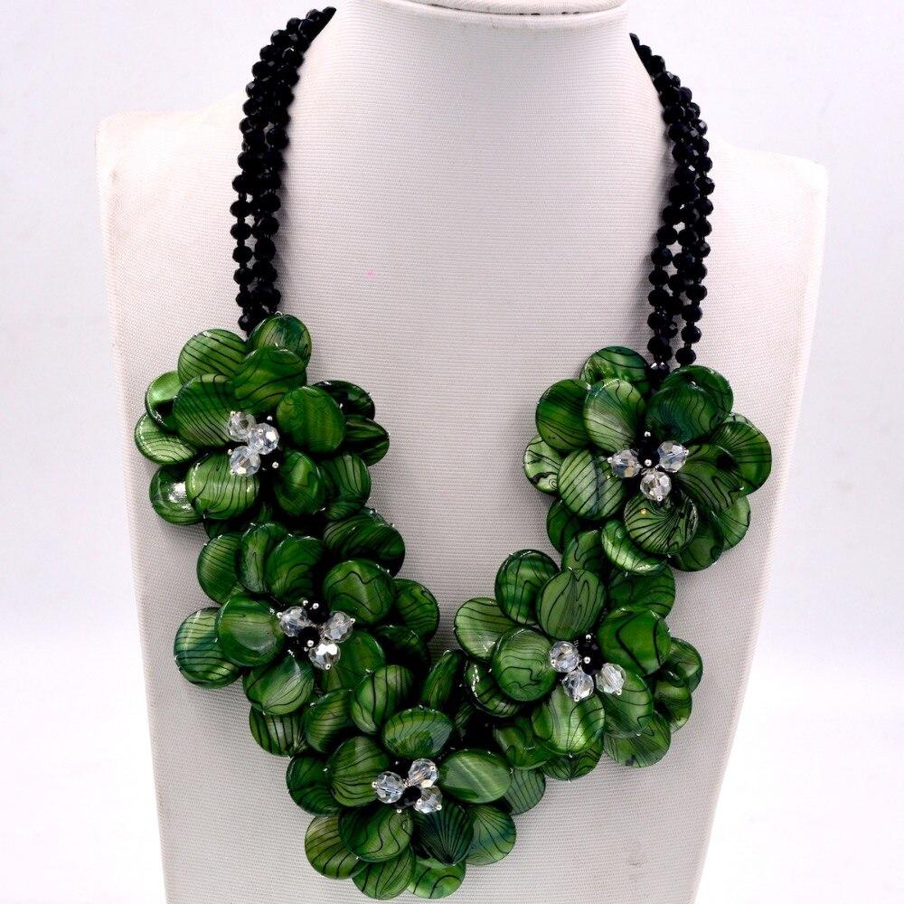 Collier de fleurs en nacre verte à rayures zébrées exclusives, cadeau de bijoux pour femmes