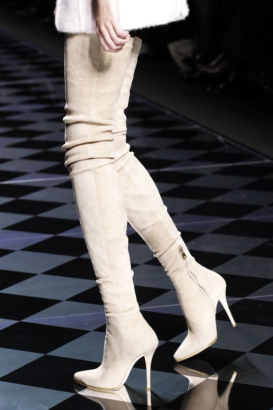 Runway over the knee high heel boots Autumn Pointed Toe Thigh High Boots Beige Suede high heel boots woman long boots black stretch fabric suede over the knee open toe knit boots cut out heel thigh high boots in beige knit elastic sock long boots
