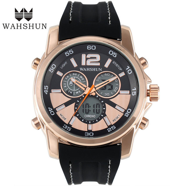 Luxuxry Brand Men Casual Watches Dual Time Display Wristwatch Rose Golden IP Alloy Dial Silicone StrapRelogio Masculino WS1162