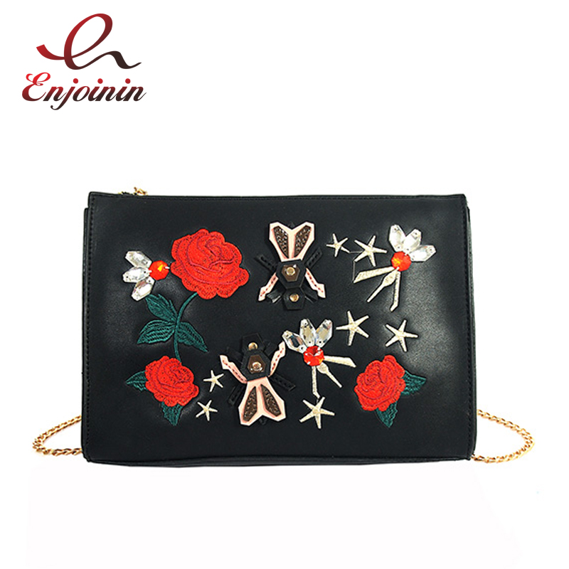 Fashion Embroidery Red Flower Black Pu Leather Ladies Day Clutches Envelope Bag Shoulder Bag ...