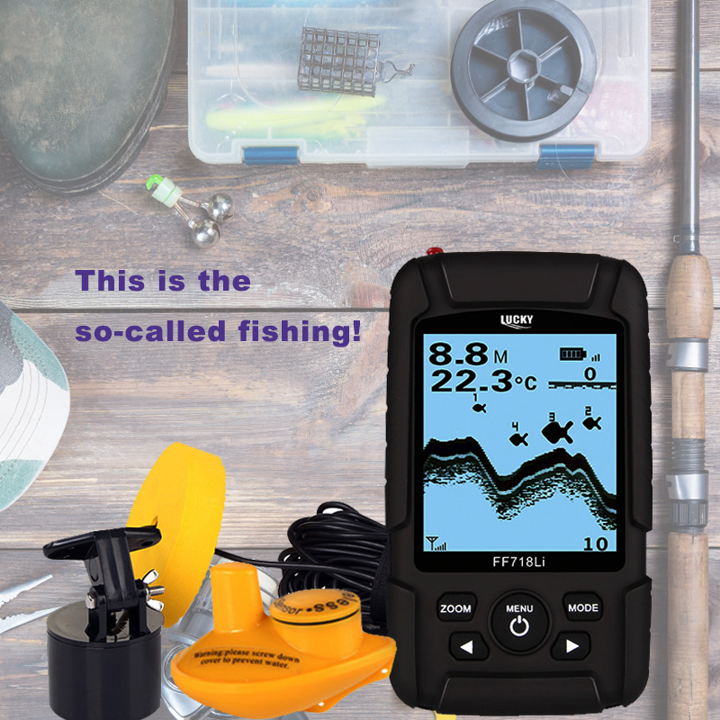 LUCKY FF718Li Fish Finder Sonar Transducer 2-in-1 Wired & Wireless 328ft /100m depth Fishfinder Sensor Portable Waterproof #B8 lucky 2 in 1 wired 100m and 40m wireless boat fish finder fishing sensor sonar transducer mode built in water temperature sensor
