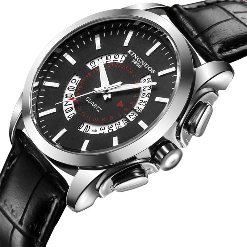 Dropshipping luxury fashion Brand calendar Stainless steel men watches Leather quartz waterproof wrist watch Relojes Hombre