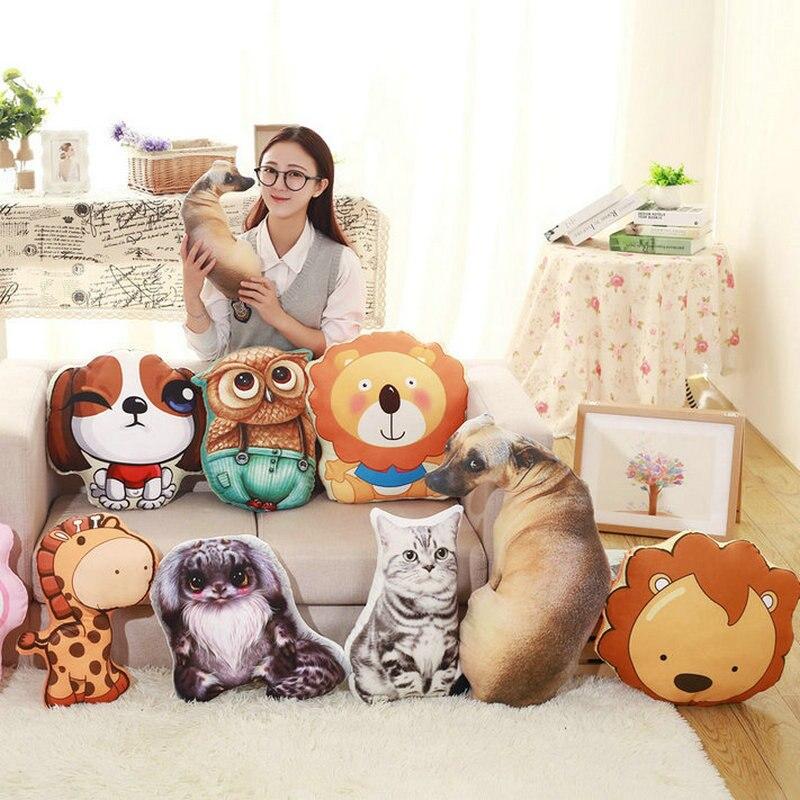 №Animales lindos juguetes de peluche 3D impresión León/perro/búho ...