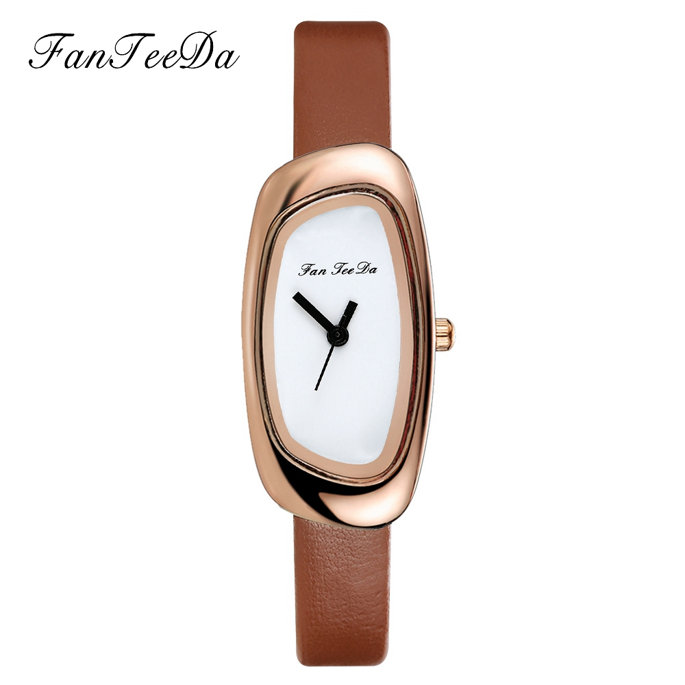 FanTeeDa Brand Leather Quartz Watches Fashion Women Casual Bracelet Wristwatches Rose Gold Simple Dial Sport Watch Clock