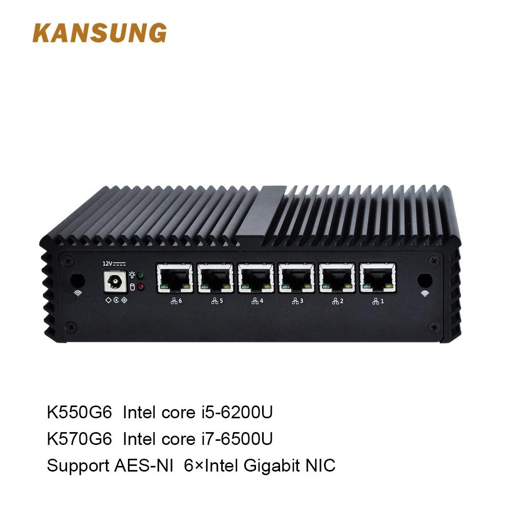 Mini PC 6th Core i5 6200U/i7 6500U 6 Gigabit NICs COM Fanless Pfsense Sophos Untangl Firewall Router Free Shipping