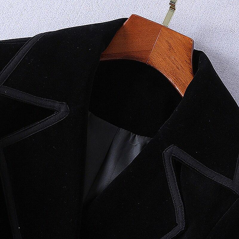 Bureau Manteau Coupe Piste Nouvelles Noir Partie Longues Manches Velours Automne Vintage Qualité Femmes De À Haute vent Élégant Hiver Chic Mode vfxwrvH