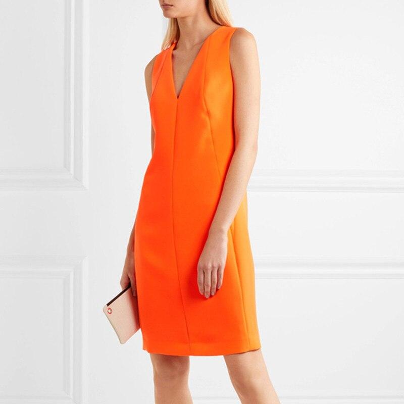 夏のノースリーブドレス 2019 新 V ネックエレガントなワークドレスオフィスの女性のファッションオレンジシーススリム通勤ルース女性のドレス XL  グループ上の レディース衣服 からの ドレス の中 2