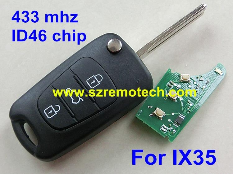 Prix pour 3 bouton 433 mhz ID46 pour Hyundai IX35 voiture flip 3 bouton de la télécommande clé 433 mhz avec ID46 puce