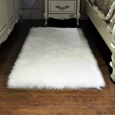 White Flux Wood Carpet Living Room Decoration Area Rugs Hairy Mats Rectangle Fur Skin Bedroom Decoration