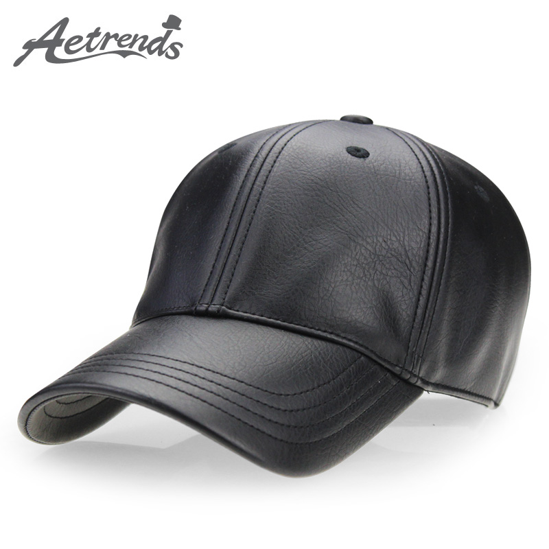 [AETRENDS] 2017 New PU Leather Baseball Caps
