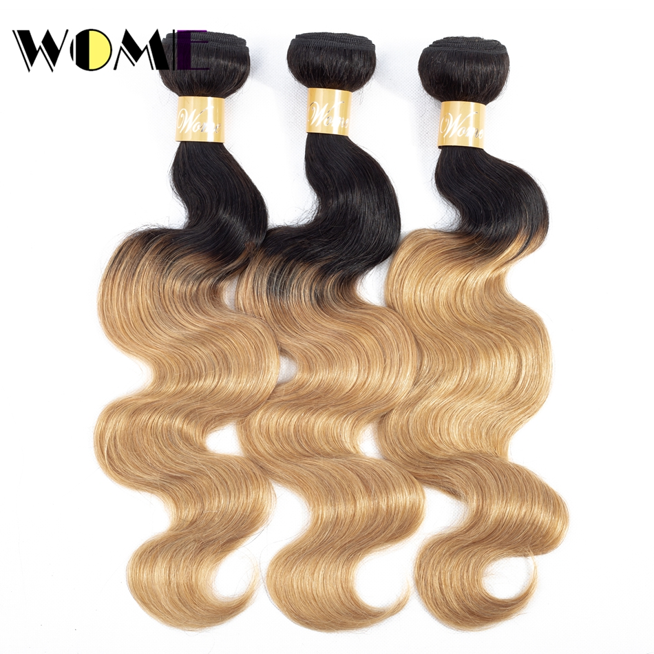 Ombre Human Hair Bundles Brazilian Body Wave Black And Blonde Bundles Pre-colored 1b/27 &1b/30 Non-remy 100% Human Hair Weave(China)