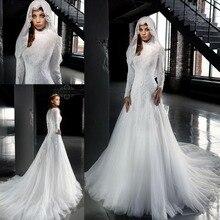 Arab 2016 Designer White High Neck Wedding Dresses A Line Long Sleeves Muslim Hijab Wedding Dress Lace louisvuigon