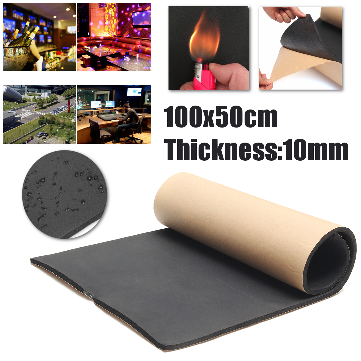 1m x 50cm High Density Soundproof Insulation Thermal 10mm Self Adhesive Waterproof Closed Cell Foam Sheets DIY Craft Supplies1m x 50cm High Density Soundproof Insulation Thermal 10mm Self Adhesive Waterproof Closed Cell Foam Sheets DIY Craft Supplies
