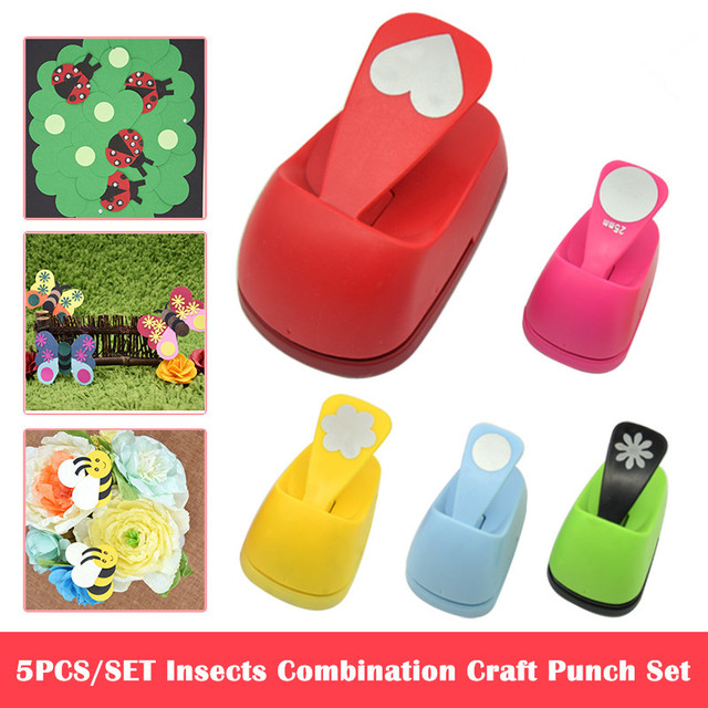 Free Ship 5pcs Insects Combination Hole Punch Save Power Craft Punch