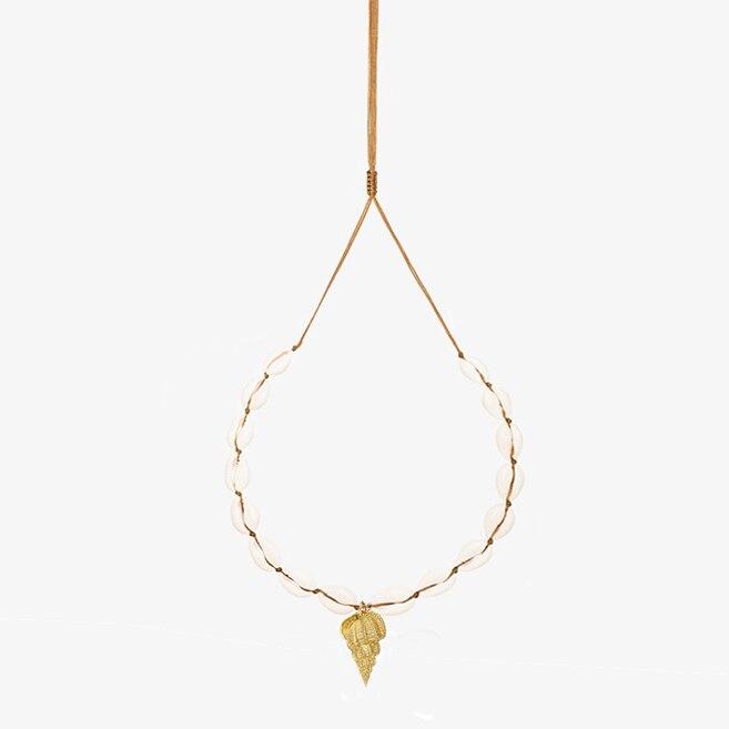 Puka Natural Sea Conch Shell Necklaces beach Scallop Seashell Pendant Necklace Colar de couro com buzio Boho Summer gold filled