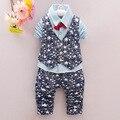Conjuntos de Roupas de bebê Menino Estrela Terno Cavalheiro Infantil Criança Meninos Camisa + Colete + Calça 3 Pçs/sets Crianças Conjunto de Roupas Outfits 1-4 Anos de Idade