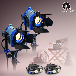 ALUMOTECH As Arri Fresnel Tungsten Spotlight Lighting 150W*2+Dimmer*2 For Photography Studio Video Camera Supporting