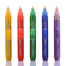 4 set/Lot 5 color Glitter marker pens Shining painting calligraphy Body Cute Scrapbooking School supplies FB989