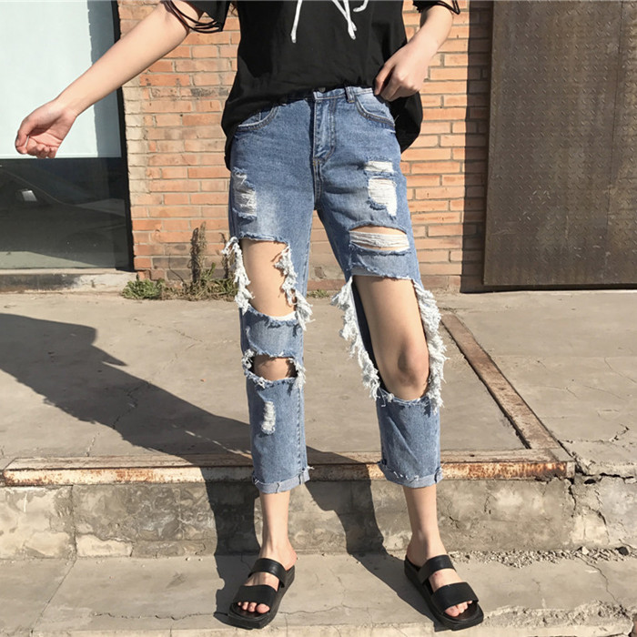 Jeans   Woman Mid Waist Ankle-Length Loose Straight Casual Ripped Hole   Jeans   for Women Plus Size 3XL 4XL 5XL 6XL